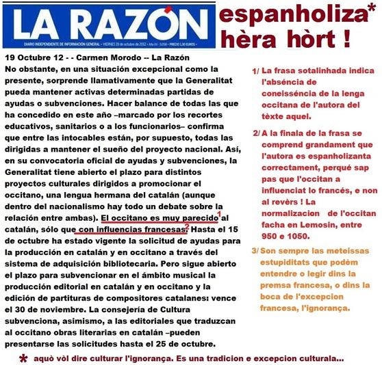 La Razón espanholiza hèra hòrt
