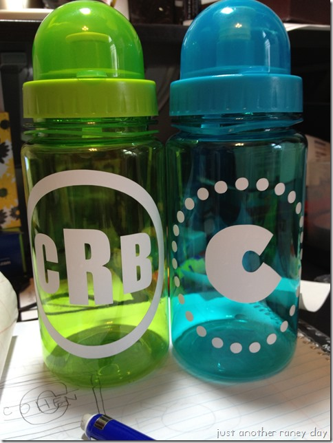 Sports bottle with vinyl initial #justanotherraneyday