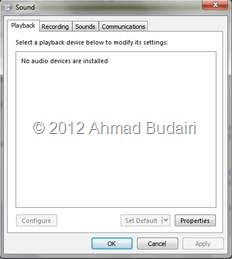 No Audio Output Device are Installed