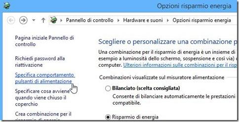 Opzioni risparmio energia Windows 8 e 8.1