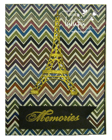 Embossing on black cardstock - watercolor pencils - Hero Arts stamp - Eiffel Towel - Lulupu The Craft Lounge - Ruthie Lopez DT