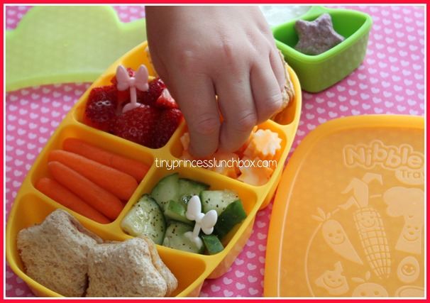 Lunch for K in our Dr. Sears Nibble Tray! #Drsearsnibbletray #schoollunchideas #lunch #pinapple