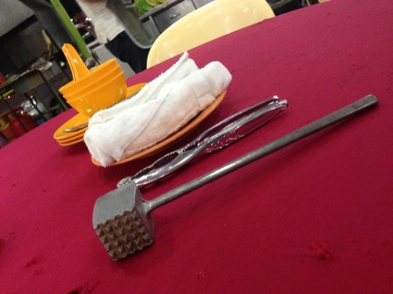 The only 'dining implements' on the table