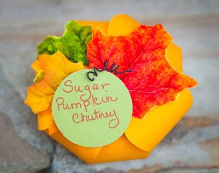 Sugar Pumpkin Chutney in a Paper Pumpkin Cage