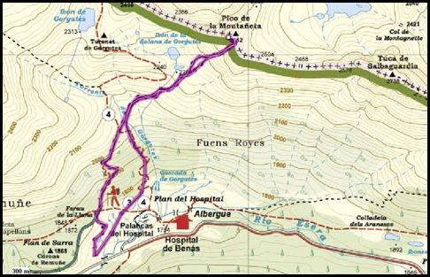 Mapa Canal Central SO 200m 50º con esquis (Pico de la Montañeta 2552m, Benasque, Pirineos) 3367