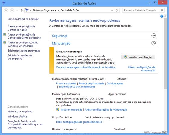 Recursos monitorados pela Central de Ações do Windows 8