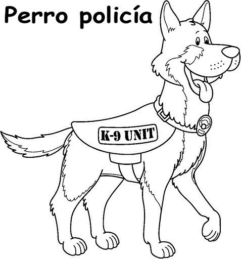 PERRO POLICIA DIBUJO PARA COLOREAR