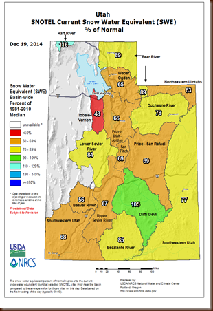 UT Snowpack map - 19 Dec 2014