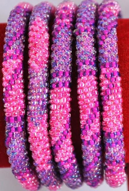 Rollover Glass Bead Bracelets pink purple