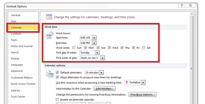 outlook option