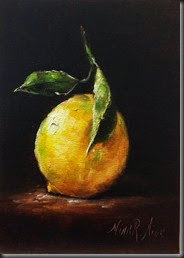 Lemon with Leaves 7x5