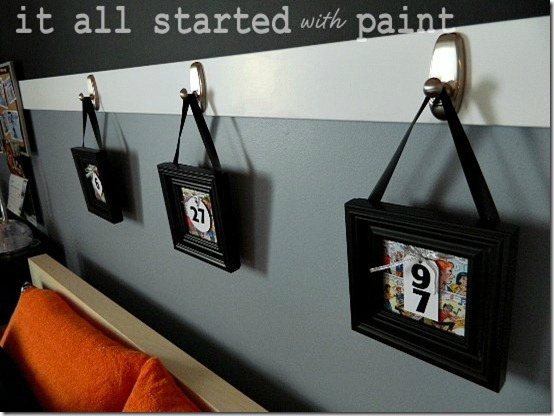 Teen room orange gray black number comic art