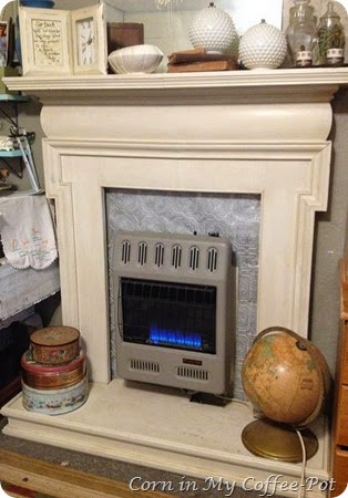 Salvaged Mantel and heater