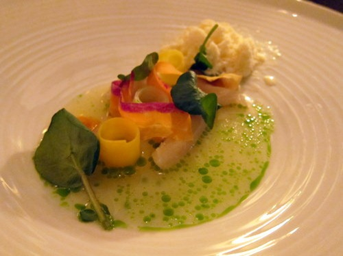 Scallops with carrot, mustard and watercress
