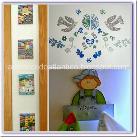 Imagem de alguns elementos de decoração infantil contendo a cor azul