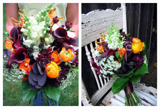 Here 39s her bridal bouquet a mix of deep purple flowers and foliage with