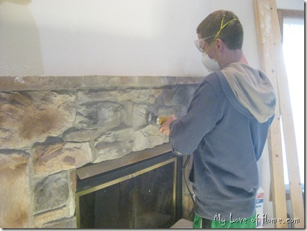 wire brush on drill, fireplace stone