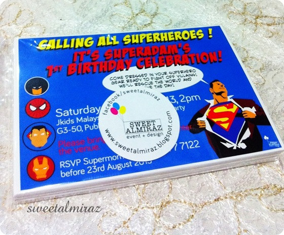 Superheroes themed birthday party sweetalmiraz superheroes invitation cards stopboris Image collections