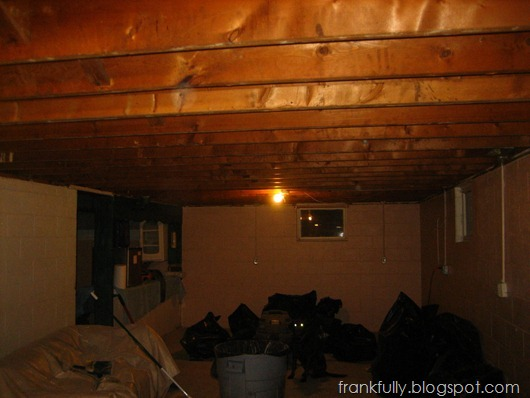 basement before, drywall ceiling down