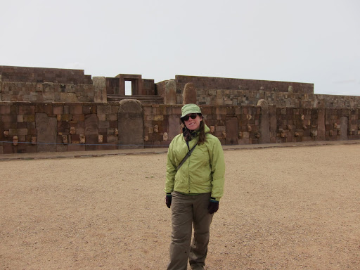 Heather in front of Temple Kalasasaya, Tiwanaku