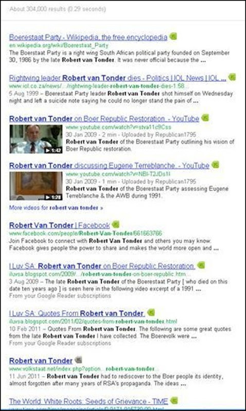 Boerestaat Party Robert van Tonder Google results 304000 Dec 23 2011