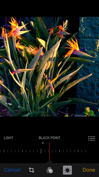 iOS 8 photos app black point adjustment