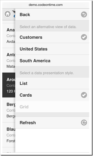 The list of available view configuration options in a mobile app created with Code On Time mobile application generator.