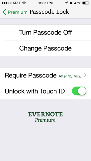 Touch ID Evernote