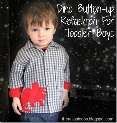 Boy Button-up Refashion, Triceratops