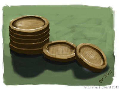 Wooden Coasters Ipad Painting © Evelyn Howard 2011