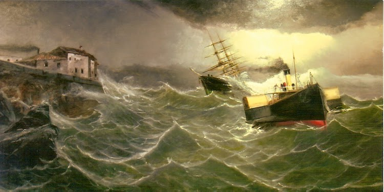 El vapor remolcador VOLADOR remolcando al bergantin goleta BOLIVAR. Colección Juan Mª Rekalde. Museo Maritimo de Bilbao. Anonimo.jpg
