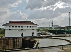 The Ever Dainty entering the Miraflores lock of the Panama Canal.