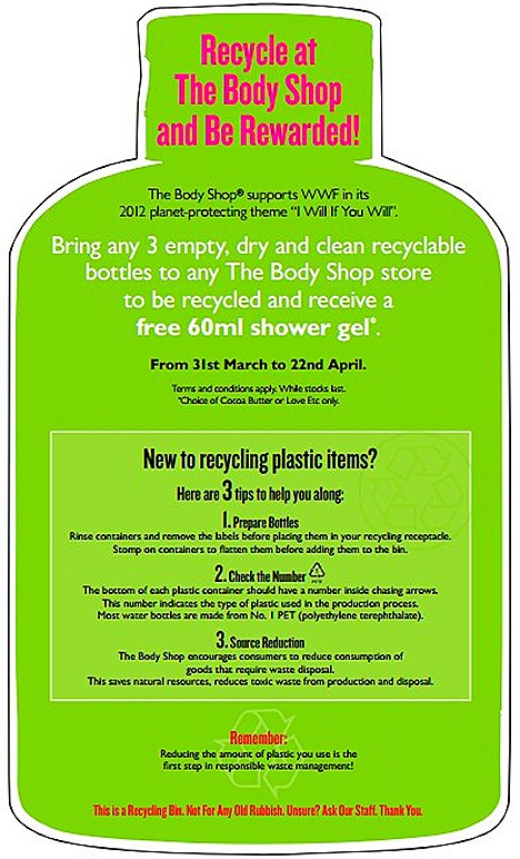 THE BODY SHOP RECYCLING PROGRAM – FREE SHOWER GEL LOVE EDT COCOA BUTTER REDEMPTION AT TBS SINGAPORE STORES