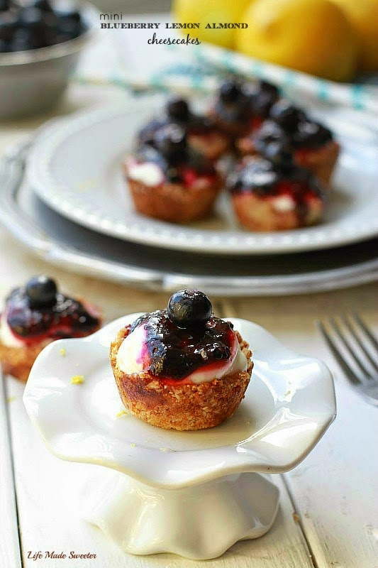 Mini Blueberry Lemon Almond Cheesecakes - These easy gluten free mini blueberry cheesecakes are made with an almond flour crust, lightened up cheesecake filling and topped with a homemade blueberry sauce..jpg