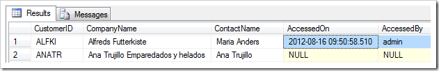 AccessedOn and AccessedBy fields are also populated in the database.