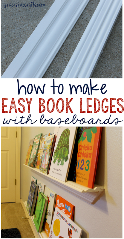 how to make easy book ledges with baseboards at GingerSnapCrafts.com #diy #bookledges #tutorial #gingersnapcrafts