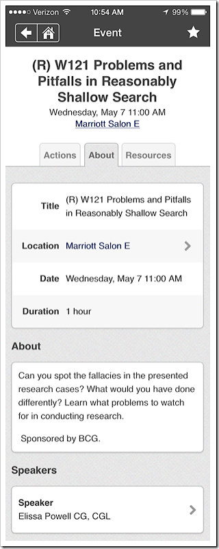 NGS Conference App - Session page