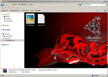 Hide file via CMD and WinRAR