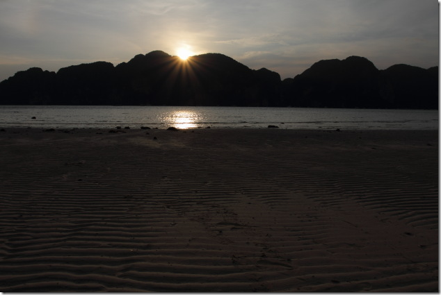 Sunset over the mountains of Ko Phi Phi, Thailand
