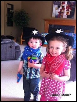 Laine and Ella cowboying