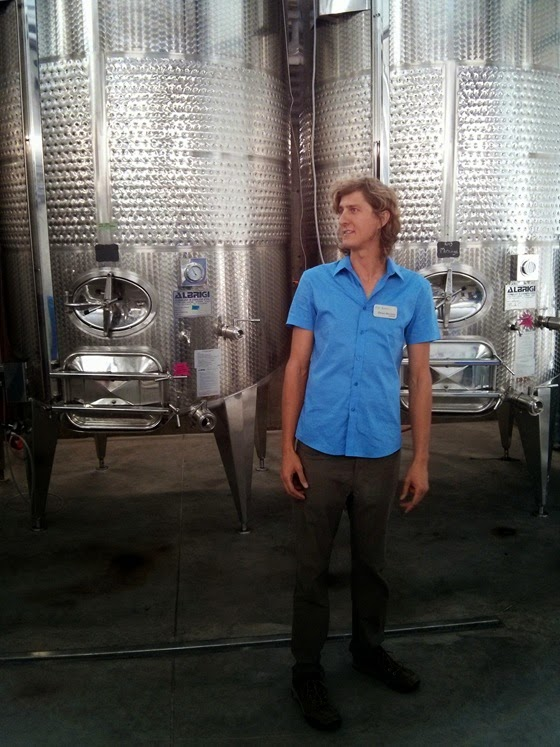 Winemaker Danny Hattingh admires his gleaming new equipment