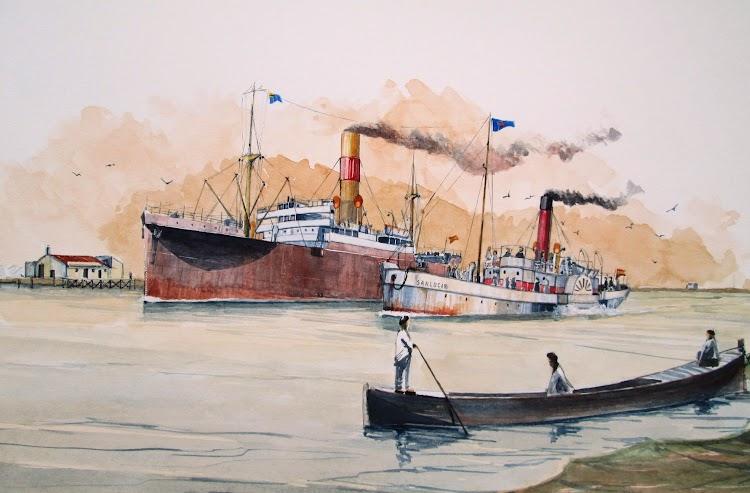 El SANLÚCAR adelantando al GUADALQUIVIR de la Naviera del Guadalquivir a la altura de las salinas de San Diego, en demanda del estuario. En el curso bajo del río. El Ilustrador de Barcos. Roberto Hernandez.jpg