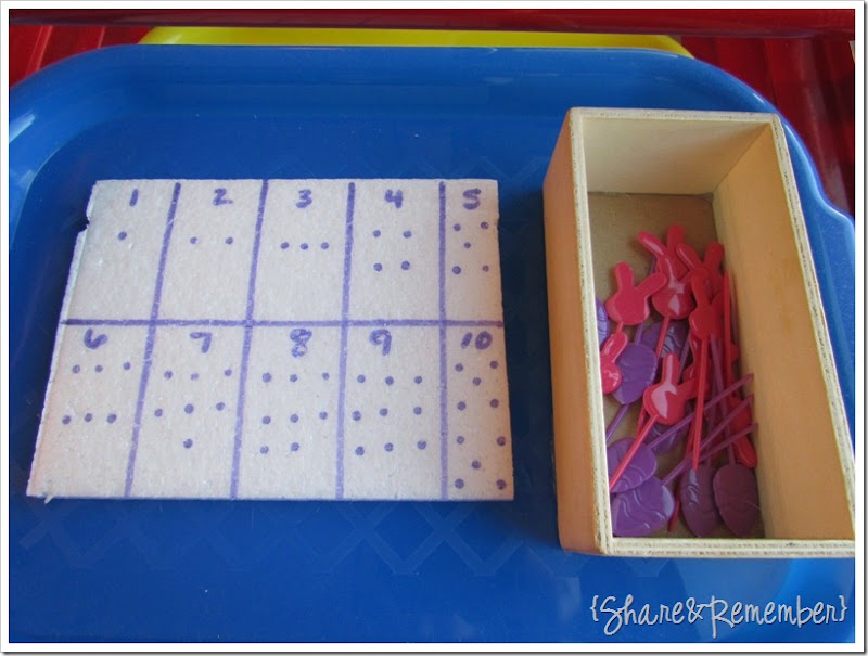 Preschool Activity Trays - numbers, fine motor skills, counting