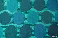 Tkanina ozdobna w geometryczne wzory. Na zasłony, poduszki, narzuty, dekoracje. Niebieska.