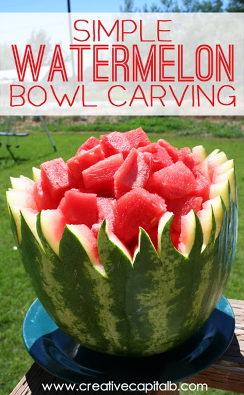 Watermelon Bowl Carving- just a few simple steps to make your next potluck more exciting!
