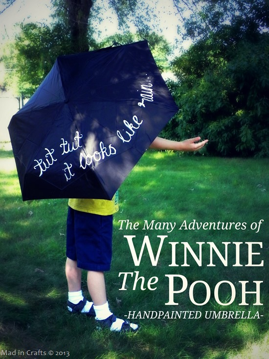 The Many Adventures of Winnie the Pooh Hand Painted Umbrella