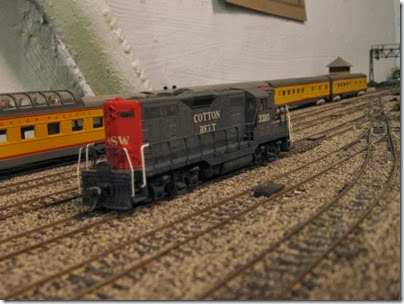 IMG_0436 Cotton Belt GP7 #3310 on My Layout on April 5, 2008
