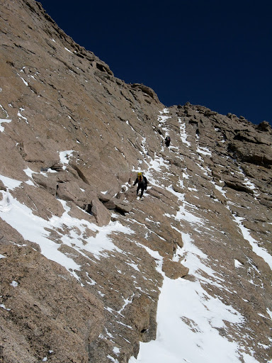A pretty wind hammerred Homestretch was straightforward with crampons.