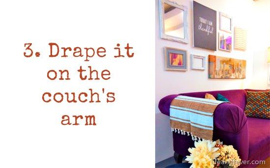 doormat over couch arm