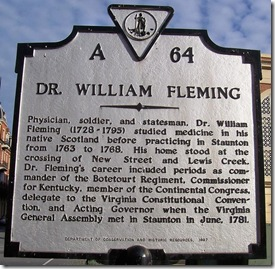 Dr William Fleming, marker A-64 in Staunton, VA (Click any photo to enlarge)